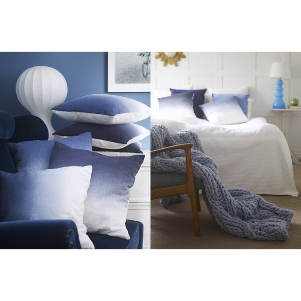 coussin tie and dye bleu indigo en lin ceannis. Black Bedroom Furniture Sets. Home Design Ideas