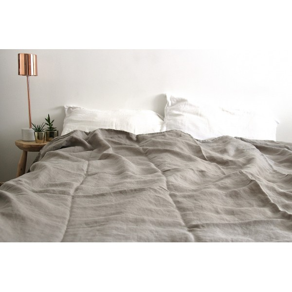 Housse de couette lin froisse, lin lave, 100% lin, stone washed on