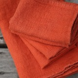 SET DE 2 SERVIETTES EN NID D'ABEILLE ORANGE -  50X70 CM