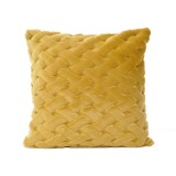 COUSSIN FAUSSE FOURRURE TRESSEE MOUTARDE - CEANNIS