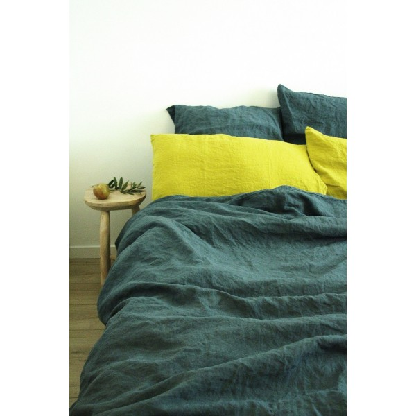 housse de couette couleur lin blue stone washed bed linen duvet bed linen linenme housse de. Black Bedroom Furniture Sets. Home Design Ideas
