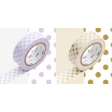 MASKING TAPE - RUBAN ADHESIF JAPONAIS - 2 P DECO - DOT USUFUJI/GOLD