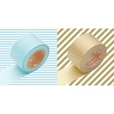 MASKING TAPE - RUBAN ADHESIF JAPONAIS - 2 P LARGE - BORDER BLUE/ STRIPE GOLD