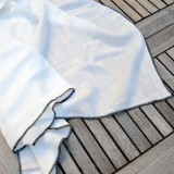 VDJ HOME - DRAP EN LIN BLANC, FINITION AU LARGE BOURDON NOIR