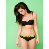 HIPSTRIPES - CULOTTE BIKINI RAYURES NOIRES ET JAUNES