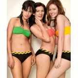 "HIPSTRIPES - BIKINI ""REMOVE AT YOUR OWN RISK"" RAYURES NOIR ET JAUNE"