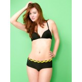 "HIPSTRIPES - SHORT ""HANDLE WITH CARE"" RAYURES NOIR ET JAUNE"
