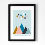 OELWEIN - AFFICHE  MONTAGNE ET PLUIE OELWEIN - A4