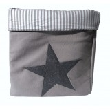 EVA &amp; OLI - PANIER DE RANGEMENT STAR PAILLETEE GRIS SOURIS (GRAND) 