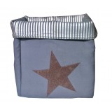 EVA &amp; OLI - PANIER DE RANGEMENT STAR PAILLETEE BLEU MIDNIGHT (GRAND) 