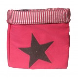 EVA &amp; OLI - PANIER DE RANGEMENT STAR PAILLETEE KISS ROSE FUSHIA (GRAND) 