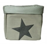 EVA &amp; OLI - PANIER DE RANGEMENT STAR PAILLETEE GRIS CLAIR (GRAND) 
