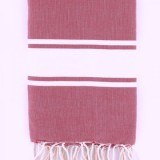 "FOUTA ""TUNISIEN"" ROUGE DENIM- 1x2M"